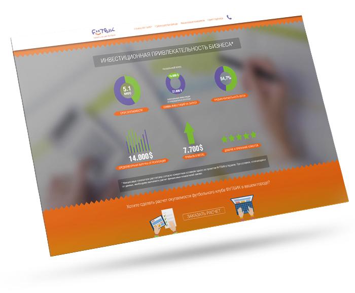 Посадочная страница франшизы ФУТБИК