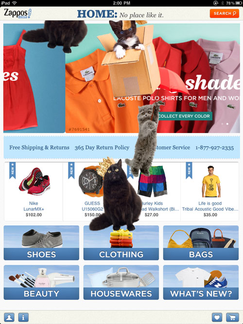 Shake your iPad when viewing Zappos.com and watch the kitties fall from the sky